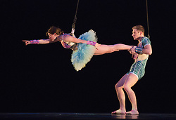 """© Licensed to London News Pictures. 02/11/2012. London, England. Aerial work by Violette Wanty and Ioannis Michos. UK premiere of """"Panorama"""" by the Philippe Decouflé Company DCA, at Sadler's Wells Theatre in London. Performed by seven dancers, the piece takes in elements from eight earlier works. Running from 2-4 November 2012. Photo credit: Bettina Strenske/LNP"""