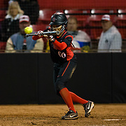 02 March 2018: San Diego State softball closes out day two of the San Diego Classic I at Aztec Softball Stadium with a night cap against CSU Northridge. San Diego State outfielder Aris Metcalfe (00) attempts to bunt the runner over to third in the bottom of the fifth inning. The Aztecs dropped a close game 2-0 to the Matadors. <br /> More game action at sdsuaztecphotos.com