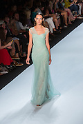 Pastel green gown. By Monique Lhuillier at Spring 2013 Fall Fashion Week in New York.