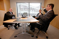 UK ENGLAND LONDON 27SEP10 - Paul Govier and Henry Smith (R) of Maples and Calder law firm during interview with SPIEGEL reporte Uwe Buse (L) at the firm's offices in the city of London...jre/Photo by Jiri Rezac..© Jiri Rezac 2010