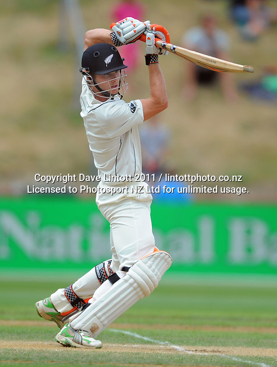 NZ batsman Kane Williamson. 2nd cricket test match - New Zealand Black Caps v Pakistan, day four at the Basin Reserve, Wellington, New Zealand on Tuesday, 18 January 2011. Photo: Dave Lintott / photosport.co.nz