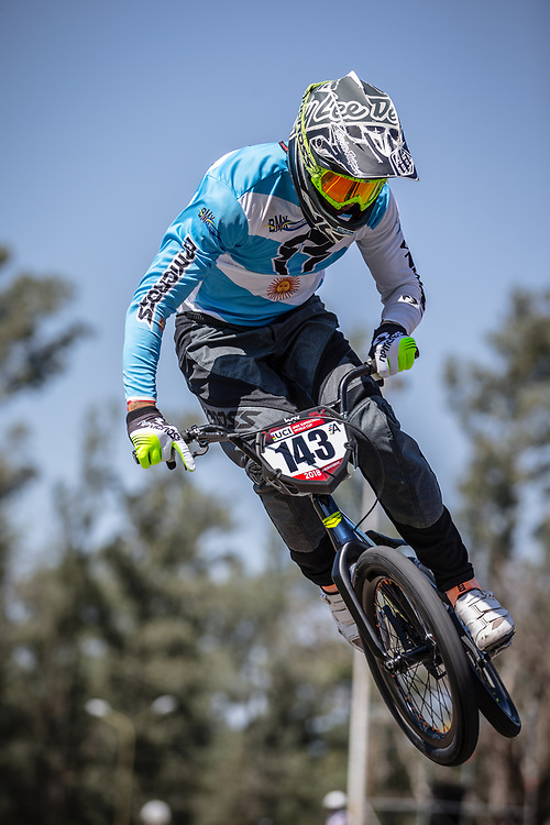 #143 (TORRES Exequiel) ARG at round 8 of the 2018 UCI BMX Supercross World Cup in Santiago del Estero, Argentina.