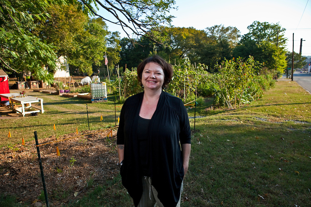 Lisa Taranto of Tricycle Gardens poses for portraits at the Urban Farm, 9th and Bainbridge in Richmond, Virginia
