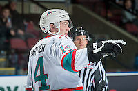 KELOWNA, CANADA - JANUARY 08: Rourke Chartier #14 of Kelowna Rockets celebrates the first goal against the Everett Silvertips during first period on January 8, 2016 at Prospera Place in Kelowna, British Columbia, Canada.  (Photo by Marissa Baecker/Shoot the Breeze)  *** Local Caption *** Rourke Chartier;
