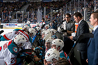 KELOWNA, CANADA - MARCH 13:  Chaydyn Johnson, equipment manager of the Kelowna Rockets fixes a helmet on the bench against the Spokane Chiefs on March 13, 2019 at Prospera Place in Kelowna, British Columbia, Canada.  (Photo by Marissa Baecker/Shoot the Breeze)
