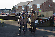 PLOUGH BOYS, The Straw Bear Festival, Whittlesey,Peterborough. 17 January 2016<br /> On Plough Tuesday, the day after Plough Monday (the first Monday after Twelfth Night), a man or boy is covered from head to foot in straw and led around the town where  he would dance in exchange for gifts of money, food or beer. The custom was was resurrected by the Whittlesea Society in 1980.
