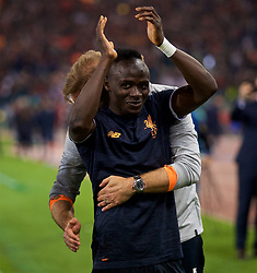 ROME, ITALY - Wednesday, May 2, 2018: Liverpool's manager Jürgen Klopp celebrates with goal-scorer Sadio Mane after the 7-6 aggregate victory over AS Roma during the UEFA Champions League Semi-Final 2nd Leg match between AS Roma and Liverpool FC at the  Stadio Olimpico. (Pic by David Rawcliffe/Propaganda)