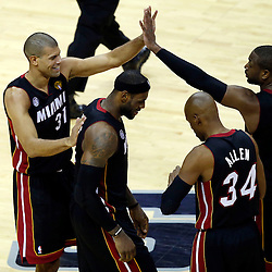 Jun 16, 2013; San Antonio, TX, USA; Miami Heat small forward Shane Battier (31) high fives shooting guard Dwyane Wade (3) during the third quarter of game five in the 2013 NBA Finals against the San Antonio Spurs at the AT&T Center. Mandatory Credit: Derick E. Hingle-USA TODAY Sports