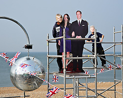 BRIGHTON, UK  29/04/2011. The Royal Wedding of HRH Prince William to Kate Middleton. Glitter balls are installed at a beach bar in Brighton for a party to celebrate the wedding. Photo credit should read JULIE EDWARDS/LNP.