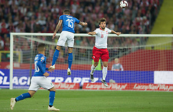 October 14, 2018 - Chorzow, Poland - Cristiano Biraghi (ITA), Bartosz Bereszynski (POL) in action during the UEFA Nations League A group three match between Poland and Italy at Silesian Stadium on October 14, 2018 in Chorzow, Poland. (Credit Image: © Foto Olimpik/NurPhoto via ZUMA Press)