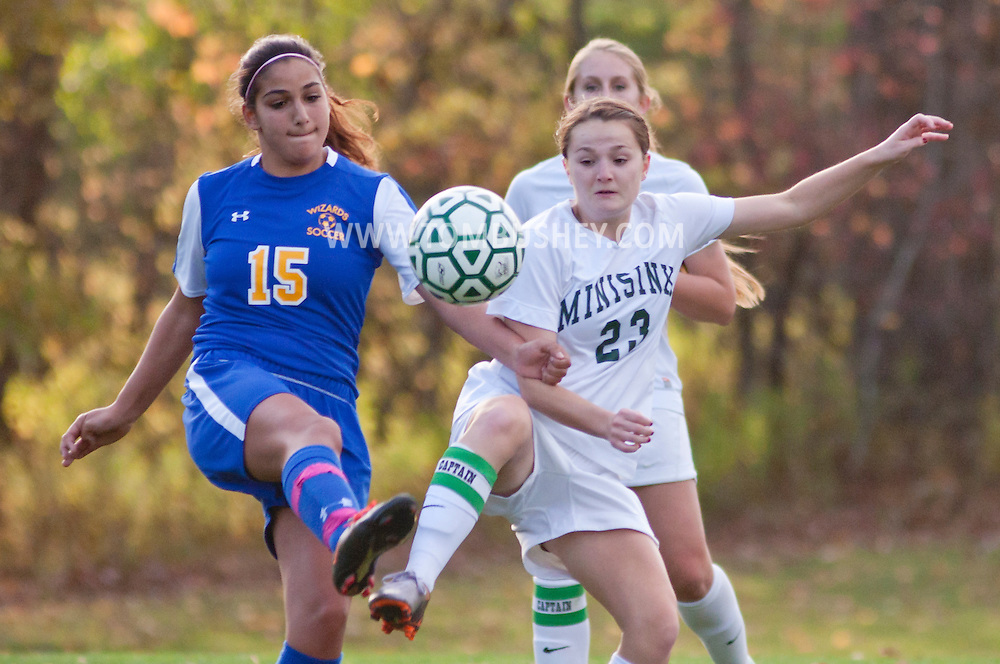 Slate Hill, New York  - Washingtonville plays Minisink Valley in a varsity girls' soccer game on Oct. 20, 2014. Washingtonville won 1-0