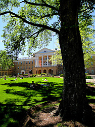Students relax on Bascom Hill on the University of Wisconsin campus.