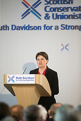 Scottish Conservative leader Ruth Davidson introduces David Cameron to the Scottish Conservative conference, held today, 4/3/2016, at Murrayfield Stadium, Edinburgh.
