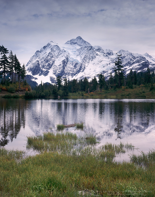 Mount Shuksan 9,127 feet (2,782 metres) seen from Picture Lake, Washington USA