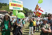 Supporters of Lega Nord (Northern League party) at a meeting in Pontida, Sunday, June 14, 2009. One's people wears a North America native's costume. ..