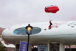 A skydiver arrives at the stadium as crowds flock to Lords Cricket Ground, the Home of Cricket to watch the ICC Cricket World Cup final between England and New Zealand. London, July 14 2019.
