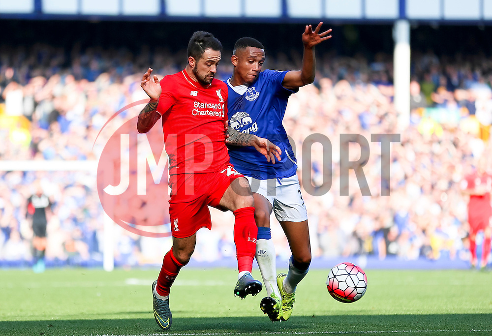 Danny Ings of Liverpool and Everton's Brendan Galloway  - Mandatory byline: Matt McNulty/JMP - 07966 386802 - 04/10/2015 - FOOTBALL - Goodison Park - Liverpool, England - Everton  v Liverpool - Barclays Premier League