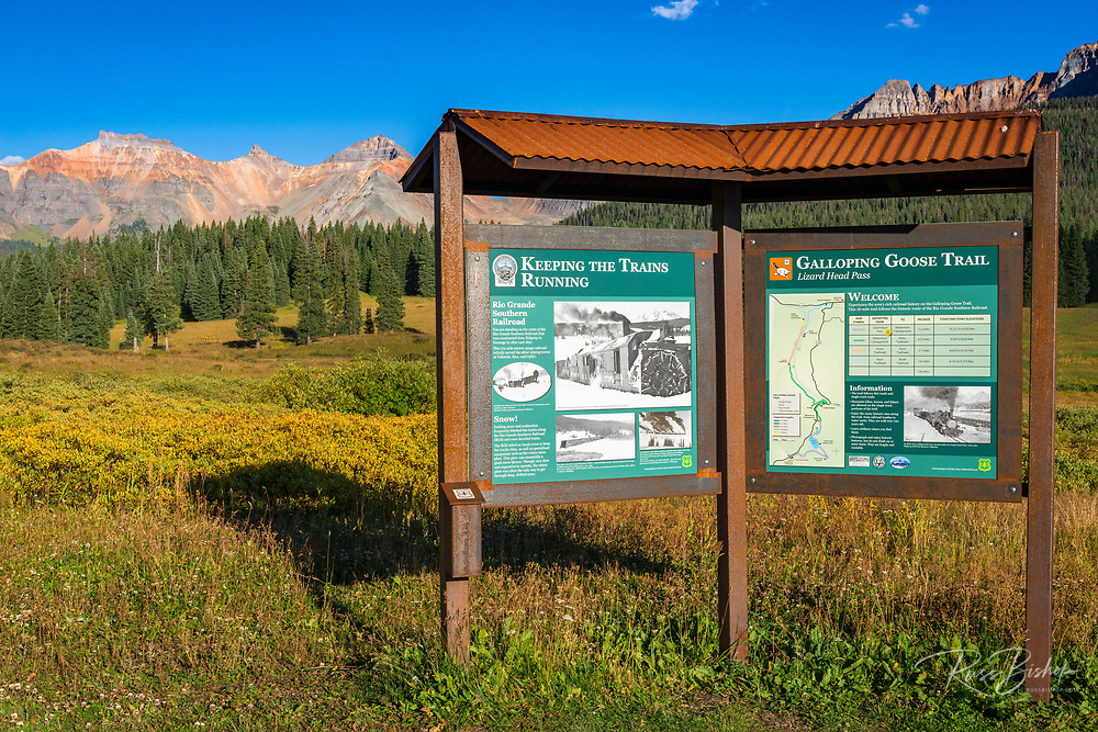Interpretive sign on the Galloping Goose Trail, Uncompahgre National Forest, Colorado USA (MR)