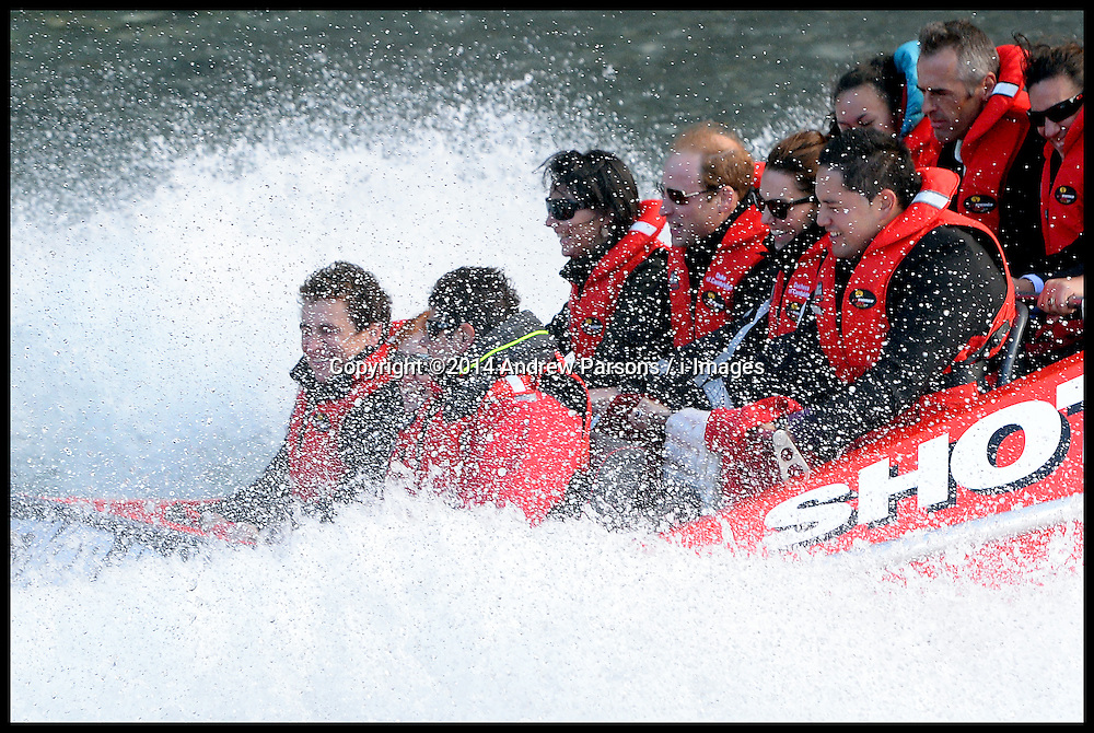 The Duke and Duchess of Cambridge have a ride on a Shotover jet ride in Queensland, New Zealand,  on day 7 of their Royal Tour of New Zealand and Australia-Day 7, Sunday, 13th April 2014. Picture by Andrew Parsons / i-Images