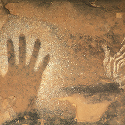 Canyonlands National Park, UT..Ancestral Puebloan pictographs in the Needles District.  Hands.