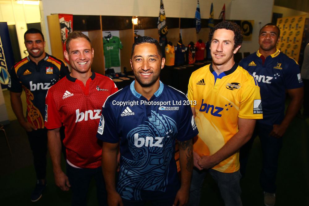 (L to R) Liam Messam from the Chiefs, Andy Ellis from the Crusaders, Benji Marshall from the Blues, Marty Banks from the Hurricanes, Nasi Manu from the Highlanders during the New Zealand Super Rugby franchises 2014 season launch at Eden Park, Auckland. 30 October 2013. Photo: William Booth/www.photosport.co.nz