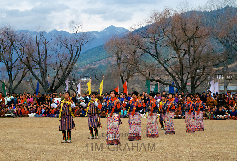 Local people at cultural festival in Paro, Bhutan