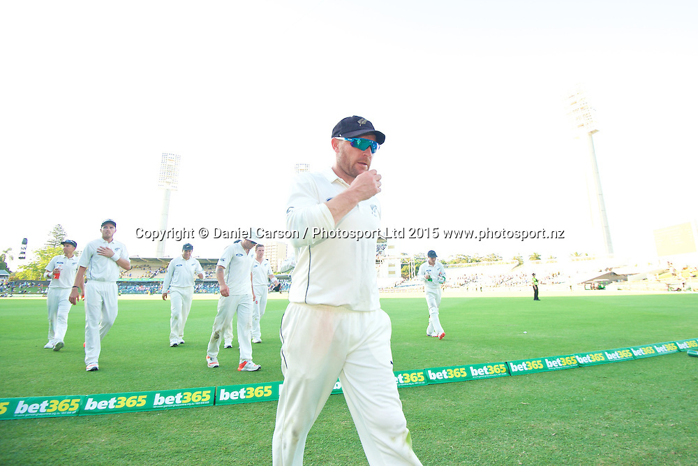 The Black Caps leave the pitch at the end of play lead by Brendon McCullum (*c) of the New Zealand Black Caps  during Day 1 on the 13th of November 2015. The New Zealand Black Caps tour of Australia, 2nd test at the WACA ground in Perth, 13 - 17th of November 2015.   Photo: Daniel Carson / www.photosport.nz
