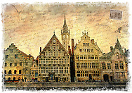 Ghent, Belgium - Forgotten Postcard digital art collage