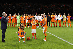 (L-R) Yolanthe Sneijder-Cabau,  Xess Xava, Jessey Sneijder, Wesley Sneijder of Holland, during the International friendly match match between The Netherlands and Peru at the Johan Cruijff Arena on September 06, 2018 in Amsterdam, The Netherlands