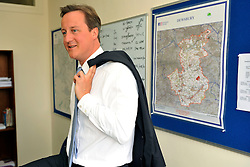 Leader of the Conservative Party David Cameron  in the Conservative Party  office in  Dewsbury while on a 3 day tour of Yorkshire and the North West of England, Wednesday August 19, 2009. Photo By Andrew Parsons / i-Images.