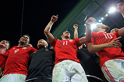 LILLE, FRANCE - Friday, July 1, 2016: Wales' Hal Robson-Kanu and Gareth Bale celebrate in the team huddle following a 3-1 victory over Belgium and reaching the Semi-Final during the UEFA Euro 2016 Championship Quarter-Final match at the Stade Pierre Mauroy. (Pic by David Rawcliffe/Propaganda)
