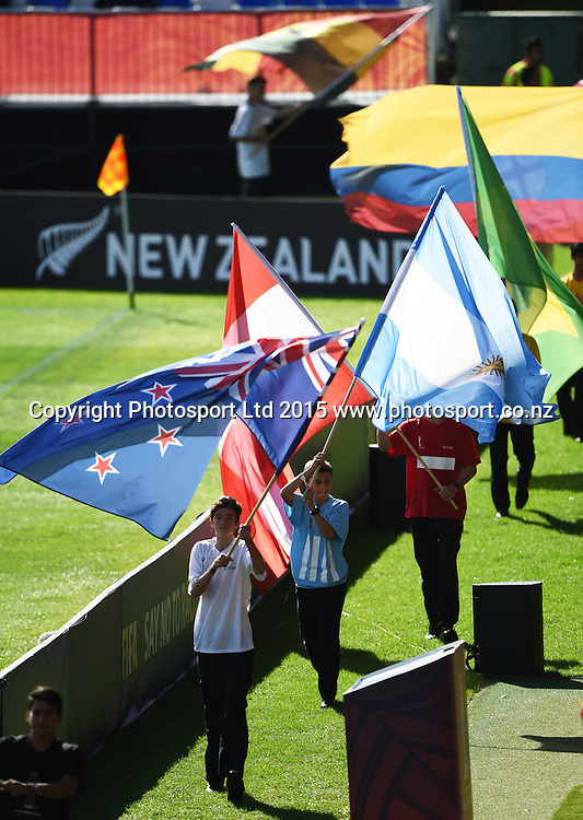 Flags during the FIFA U20 World Cup match, New Zealand Junior All Whites v Ukraine. North Harbour Stadium, Auckland, New Zealand. Saturday 30 May 2015. Copyright Photo: Andrew Cornaga / www.photosport.co.nz