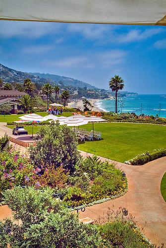 Montage Resort Hotel, Lush Gardens Below Swimming Pool Beautiful View  Laguna Beach California, Seaside