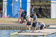 """Henley on Thames, United Kingdom, 6th July 2018, Friday, View,  """"Third day"""", of the annual,  SUI W1X., """"Jeannine GMELIN"""", """"Boating"""",with Coach, Robin DOWEL, to race in her first heat, """"Henley Royal Regatta"""", Henley Reach, River Thames, Thames Valley, England, © Peter SPURRIER,"""