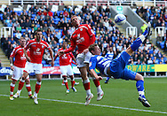 Simon Church (18) of Reading tries an overhead kick during the Npower Championship match between Reading and Barnsley on Saturday 25th September 2010 at the Madejski Stadium, Reading, UK. (Photo by Andrew Tobin/Focus Images)