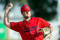KELOWNA, BC - JULY 17: Conagher Sands #22 of the Kelowna Falcons throws the ball against the Wenatchee Applesox  at Elks Stadium on July 17, 2019 in Kelowna, Canada. (Photo by Marissa Baecker/Shoot the Breeze)