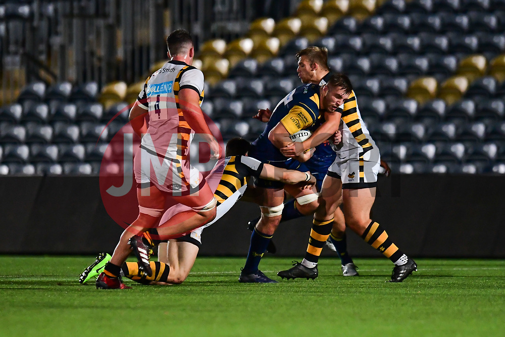 Tom Dodd of Worcester Cavaliers is tackled by 3 wasps players - Mandatory by-line: Craig Thomas/JMP - 23/10/2017 - RUGBY - Sixways Stadium - Worcester, England - Worcester Cavaliers v Wasps - Aviva A League