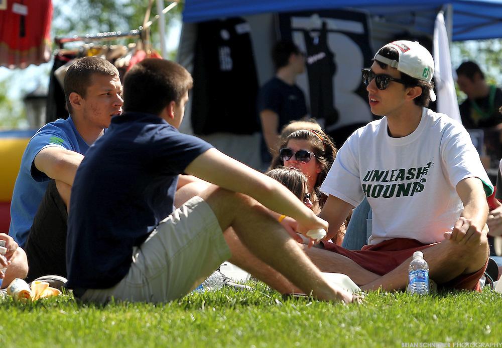April 29, 2012; Baltimore, MD, USA; Loyola University Maryland students enjoy Loyolapoolza activites on the quad in Baltimore, MD. Mandatory Credit: Brian Schneider-www.ebrianschneider.com