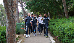 HAIFA, ISRAEL - Saturday, March 28, 2015: Wales' James Collins, Chris Gunter, Gareth Bale and captain Ashley Williams on a team walk ahead of the UEFA Euro 2016 qualifying Group B match against Israel. (Pic by David Rawcliffe/Propaganda)