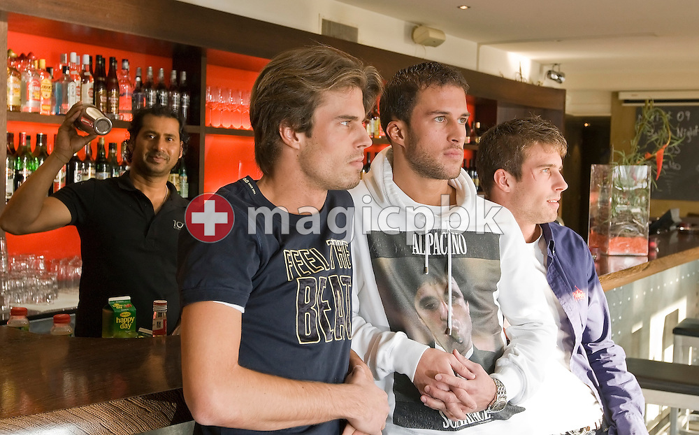 "(L-R) The three Gavric brothers Vujo Gavric, Nikolaj Gavric and Aleks (Aleksandar) stand at the bar in the restaurant 10' Dieci Al Lago, where they all have a part time job, in Rapperswil, Switzerland, Wednesday, Nov. 11, 2009. According to the Swiss newspaper Blick Vujo Gavric will become the new bachelor in the TV show ""Bachelor"" of Swiss private TV station 3+ which will air in autumn 2013. (Photo by Patrick B. Kraemer / MAGICPBK)"