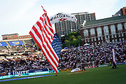 The U.S. flag is brought into Nippert Stadium via parachute prior to the MLS soccer match between FC Cincinnati and D.C. United, Thursday, July 18, 2019, in Cincinnati, OH. D.C. United defeated FC Cincinnati 4-1. (Jason Whitman/Image of Sport)