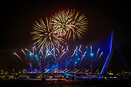 ROTTERDAM - Vuurwerk tijdens de jaarwisseling bij de Erasmusbrug in Rotterdam. ANP ROBIN UTRECHT