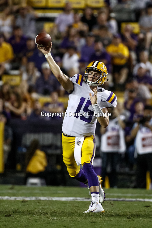 Sep 23, 2017; Baton Rouge, LA, USA; LSU Tigers quarterback Myles Brennan (15) throws against the Syracuse Orange during the fourth quarter of a game at Tiger Stadium. LSU defeated Syracuse 35-26. Mandatory Credit: Derick E. Hingle-USA TODAY Sports