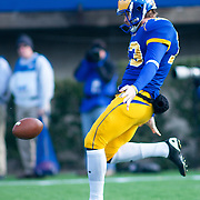 Delaware Punter (#13) Ed Wagner punts the ball away to Georgia Southern during The Division I FCS Championship Semifinals at Delaware. No. 3 Delaware defeats Georgia Southern 27-10 on a cold Saturday afternoon at Delaware stadium in Newark Delaware...Delaware will head to Texas for the Division I FCS National Championship Game Vs Eastern Washington eagles who defeated Villanova 41-31 friday night in Washington.