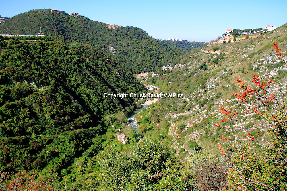 A river cuts through the green, yet rocky valleys of the Lebanon Mountain range along the country's coastline.