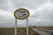 A sign on the beach of to Help Keep it Clean in Atlantic, City, New Jersey.