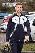 AFC Wimbledon goalkeeper George Long (1) arriving during the EFL Sky Bet League 1 match between AFC Wimbledon and Northampton Town at the Cherry Red Records Stadium, Kingston, England on 10 February 2018. Picture by Matthew Redman.