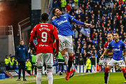 Kyle Lafferty of Rangers jumps for a header during the Ladbrokes Scottish Premiership match between Rangers and Hamilton Academical FC at Ibrox, Glasgow, Scotland on 16 December 2018.