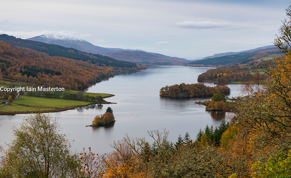 View of Loch Tummel from The Queen's View during autumn in Perthshire, Scotland, UK