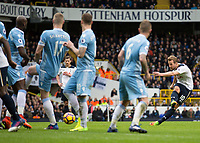 Football - 2016 / 2017 Premier League - Tottenham Hotspur vs. Stoke City<br /> <br /> Harry Kane of Tottenham strikes the ball through the wall at White Hart Lane.<br /> <br /> COLORSPORT/DANIEL BEARHAM